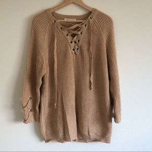 Lace up taupe sweater one size